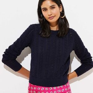 NWT LOFT Med bobble cropped pullover sweater blue